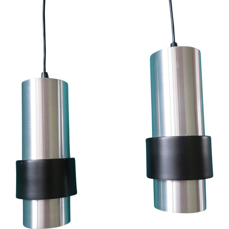 Pair of hanging lamps in metal, JJM HOOGERVORST - 1960s