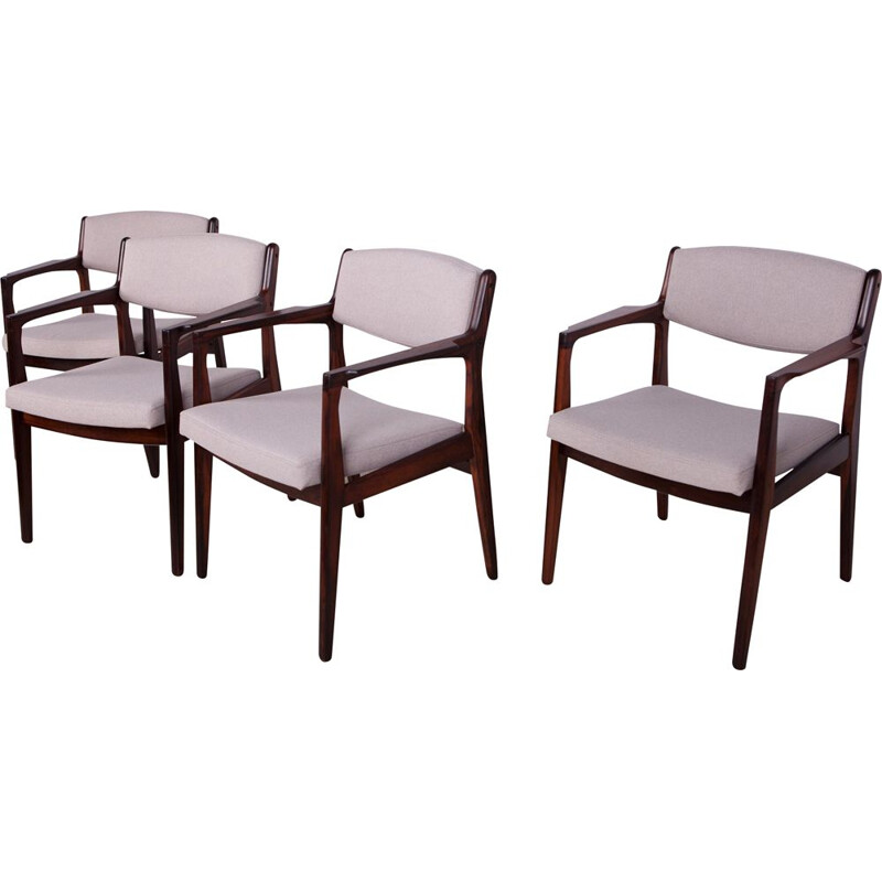 Set of 4 vintage Rosewood Armchairs by Erik Buch for Orum Mobelfabrik 1960s