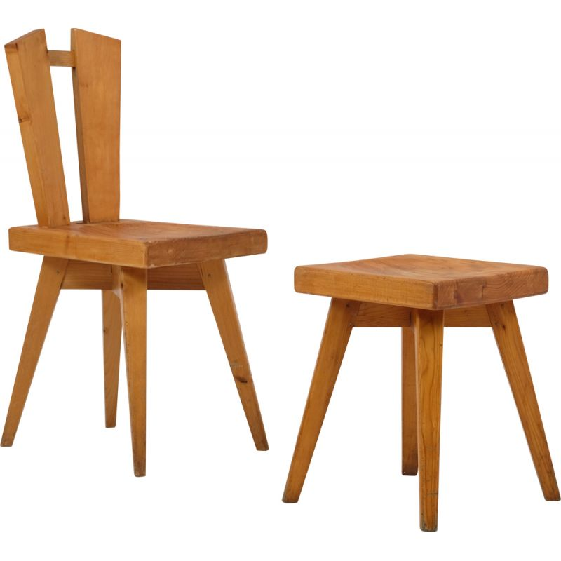 Vintage chair and stool by Christian Durupt Meribel 1960s