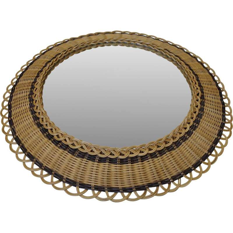 Vintage wicker frame round mirror