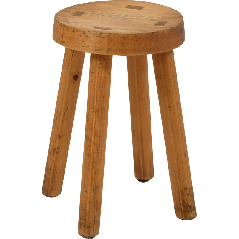 Vintage pine four-legged stool by Charlotte Perriand for the Méribel ski resort 1960s