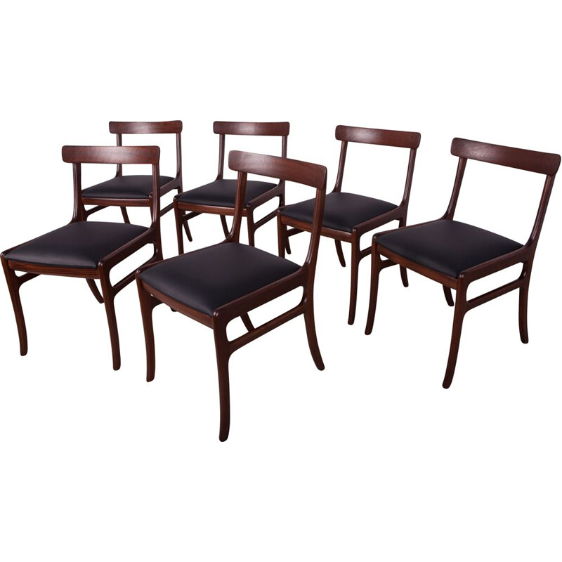 Set of 6 vintage Dining Chairs by Ole Wanscher for Poul Jeppesens Mobelfabrik, Danish 1960s