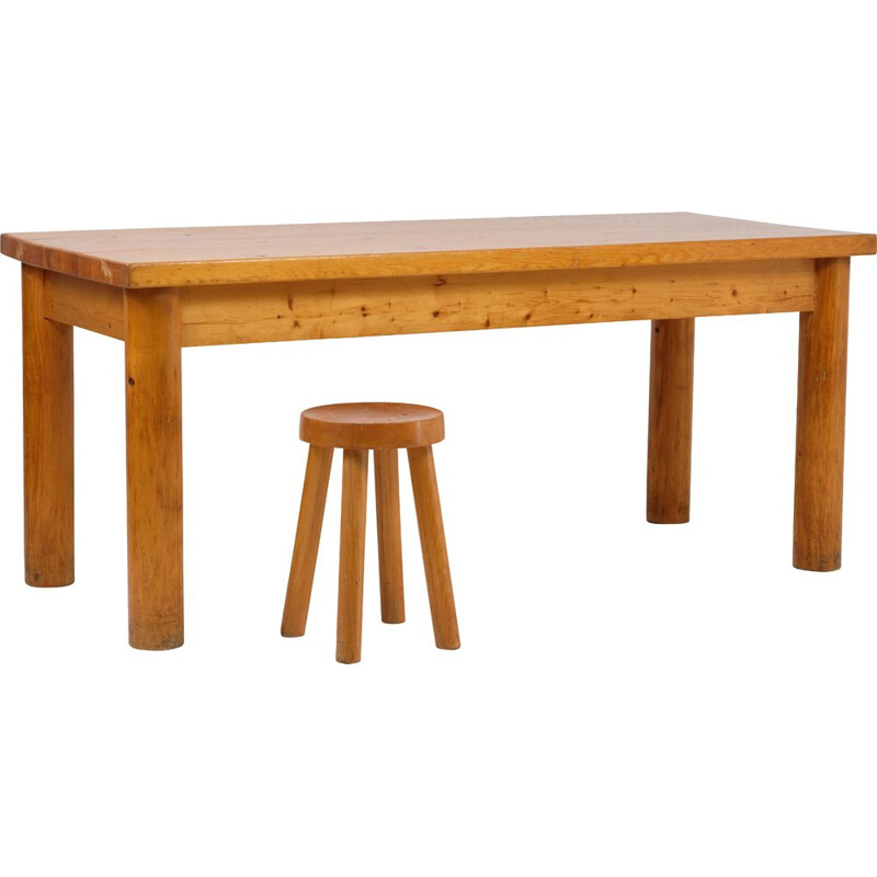Vintage pine table by Charlotte Perriand for Méribel ski resort 1960s