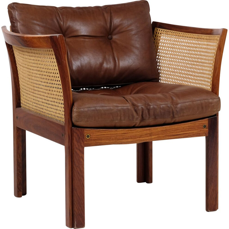 Vintage leather armchair in rosewood illum wikkelso for Silkeborg, Denmark 1960s