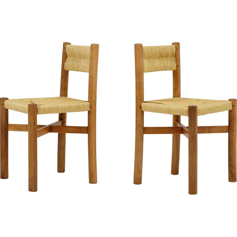 Pair of vintage chairs with straw back by Charlotte Perriand 1960s