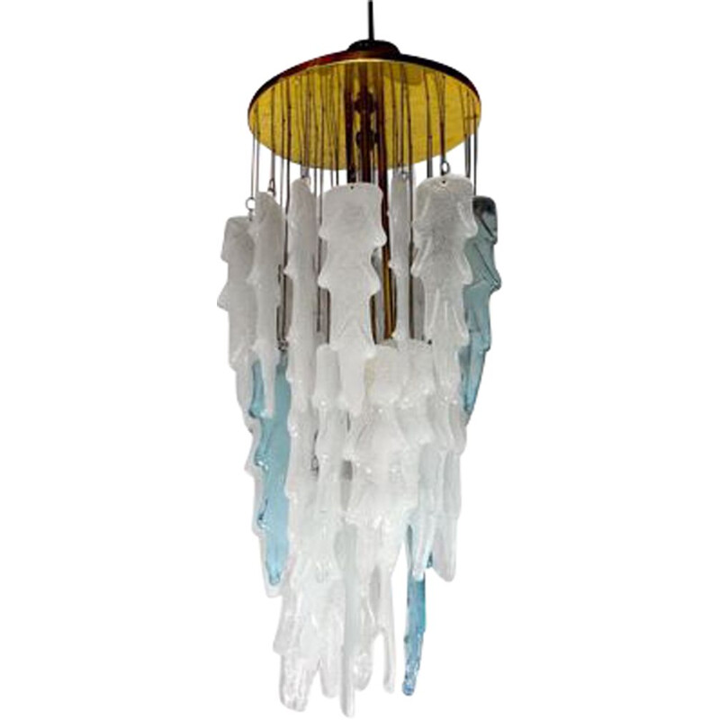 Vintage Poliarte waterfall pendant lamp by Albano Poli, Italy 1970s