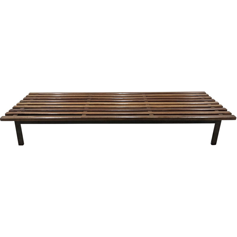 Vintage Cansado bench in mahogany by Charlotte Perriand 1954s