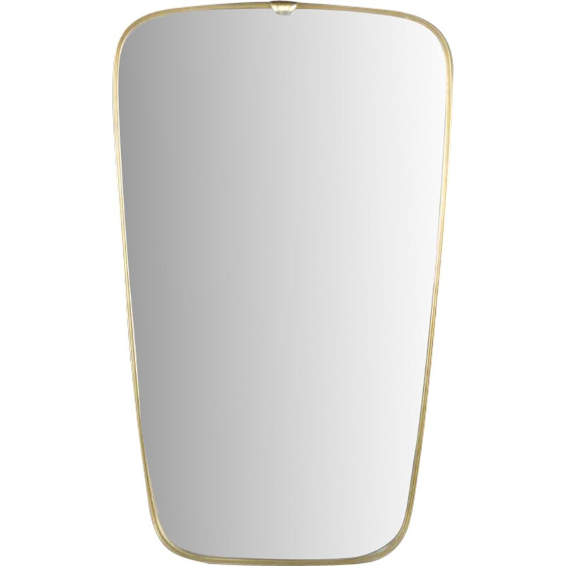 Vintage Modern Rockabilly Wall Mirror with Golden Frame, German 1970s