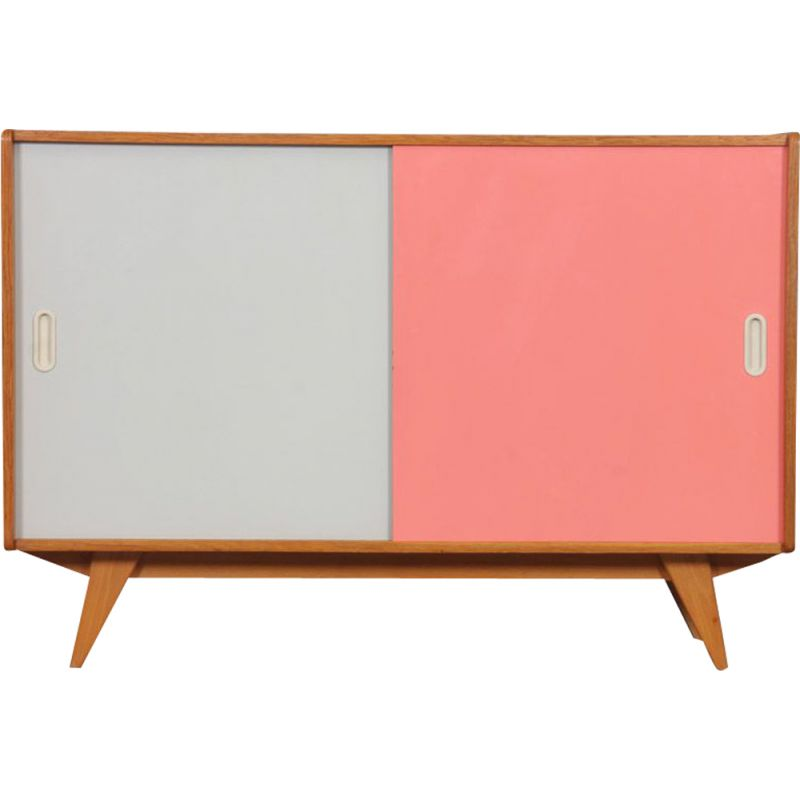 Vintage chest of drawers model U-452 pink and white by Jiri Jiroutek 1960s