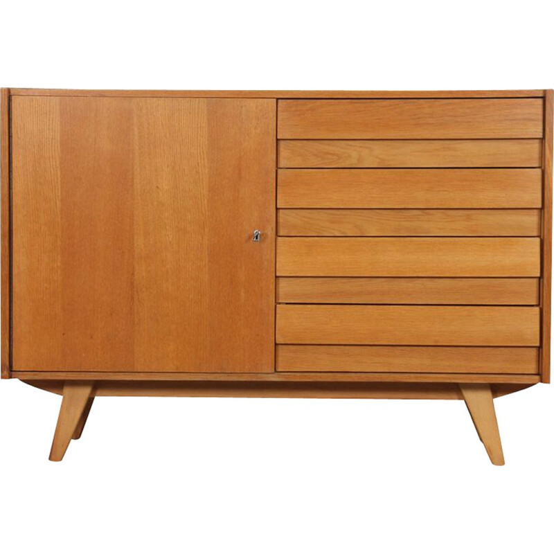 Vintage oak chest of drawers model U-458 by Jiri Jiroutek, Czech Republic 1960s