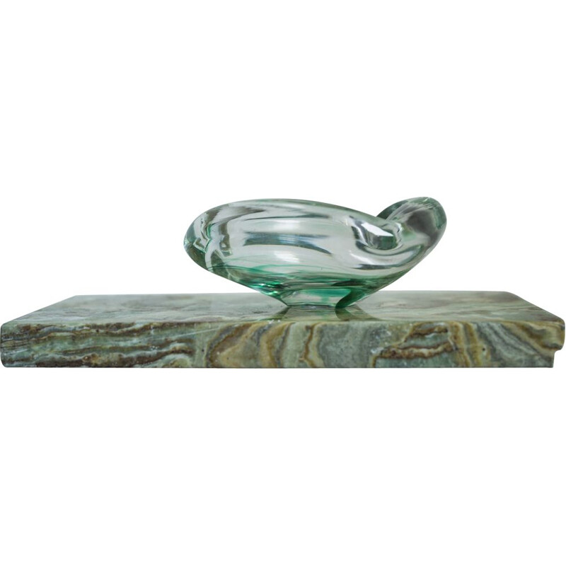 Vintage glass ashtray by Max Verboeket for Maastricht Kirstalunie, Netherlands 1950s