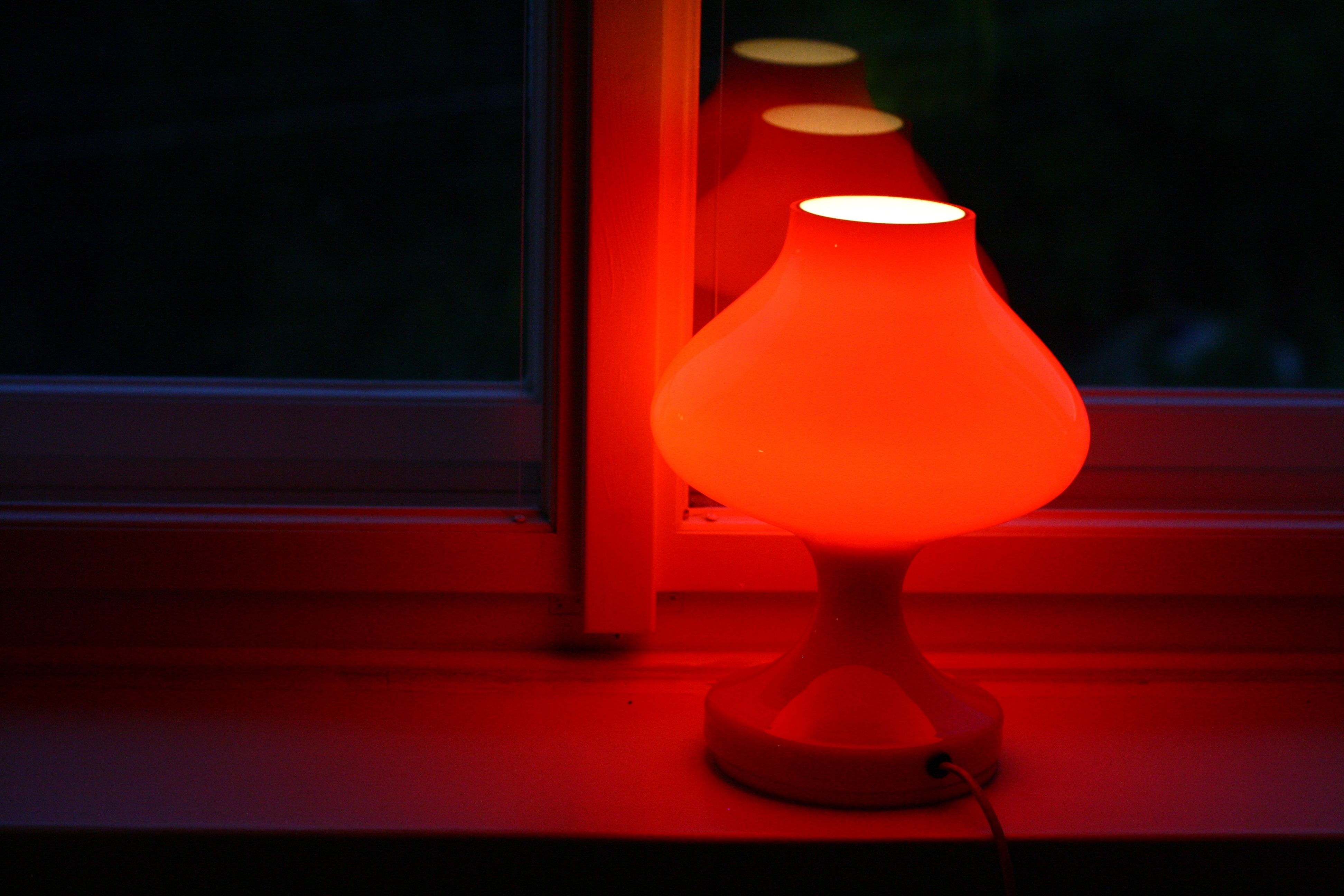 Czech OPP table lamp in red glass