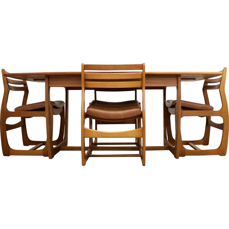 Set of 5 vintage Extendable Teak Dining Table & Chairs Set from Portwood, UK 1960s