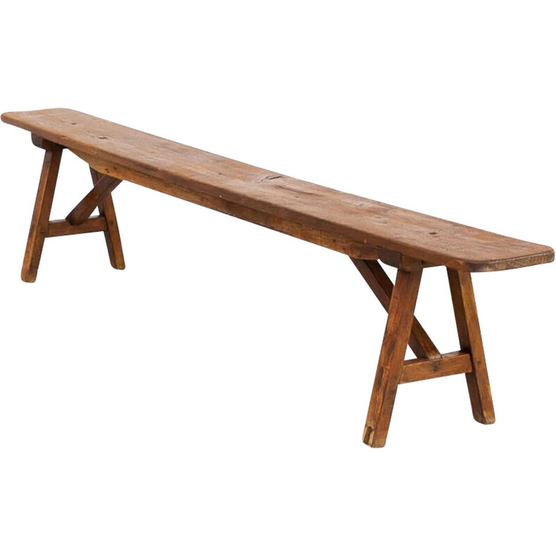 Vintage organic wooden bench 1950s