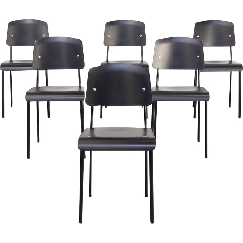 "Set of 6 vintage Jean Prouvé ""Standard-SP"" dining chair for Vitra"