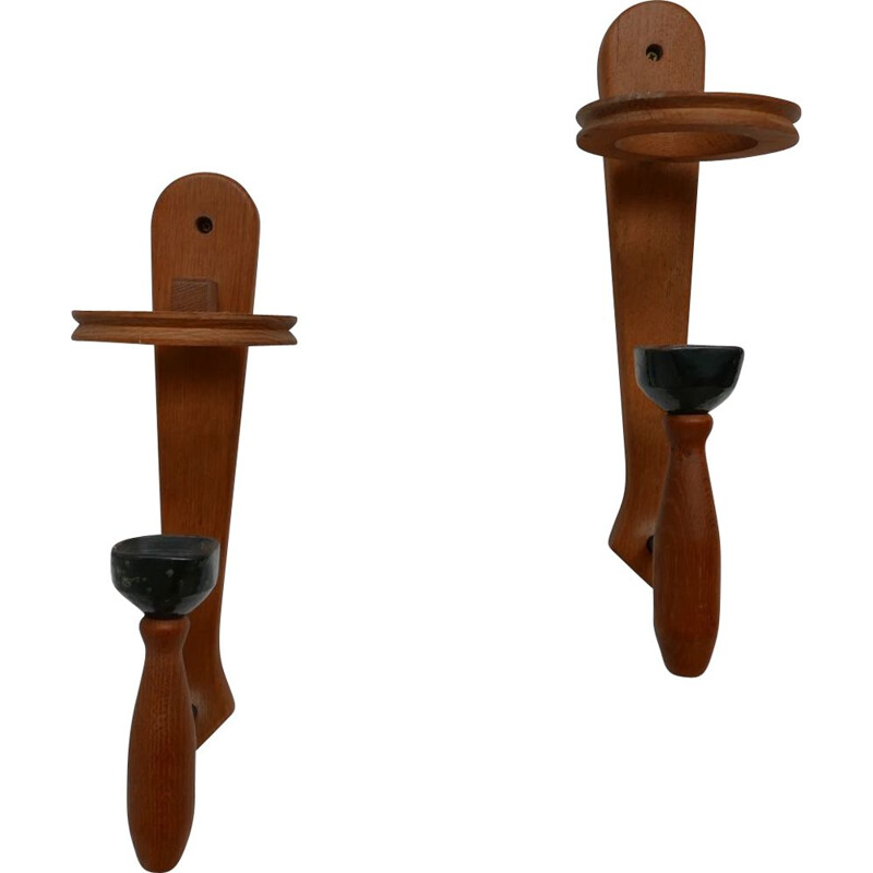 Pair of vintage Wall Lights by Guillerme et Chambron, France 1960s