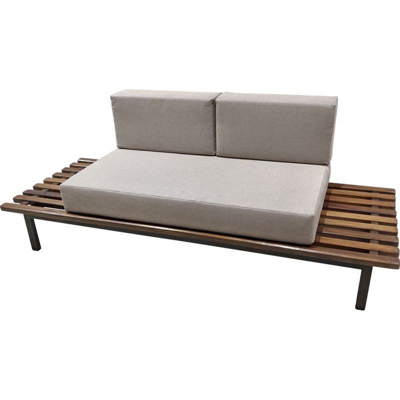 Vintage Cansado bench with mattress and cushions by Charlotte Perriand 1954s