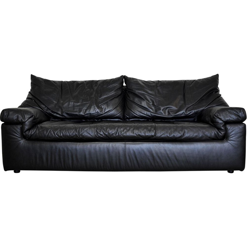 Vintage black leather sofa by Cinna 1980s