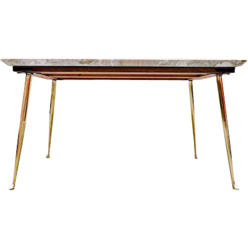 Vintage mable and brass side table, Italian 1960s