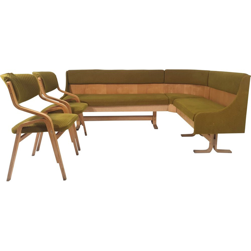 Vintage Corner sofa & 2 Chairs by Ludvik Volak for Drevopodnik Holesov, Czechoslovakia 1960s