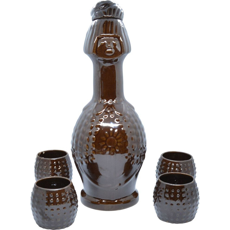 Vintage Ceramic decanter and glasses  by Bronisław Wolanin, Poland 1960s