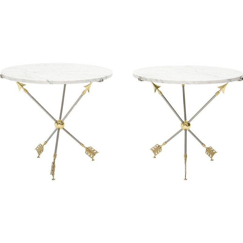 Pair of vintage neoclassical brass marble pedestal tables by Jansen 1970s