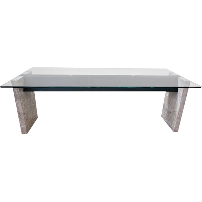 Vintage Marble Steel And Glass Top Dining Table By Lazzotti For Up&Up