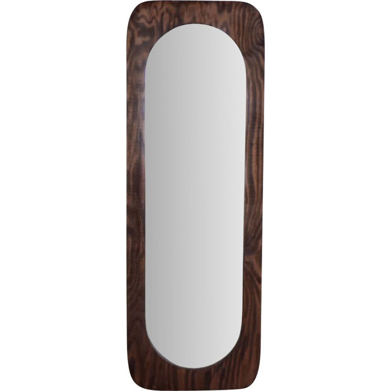 Large vintage Wood Wall Mirror, Denmark 1950s
