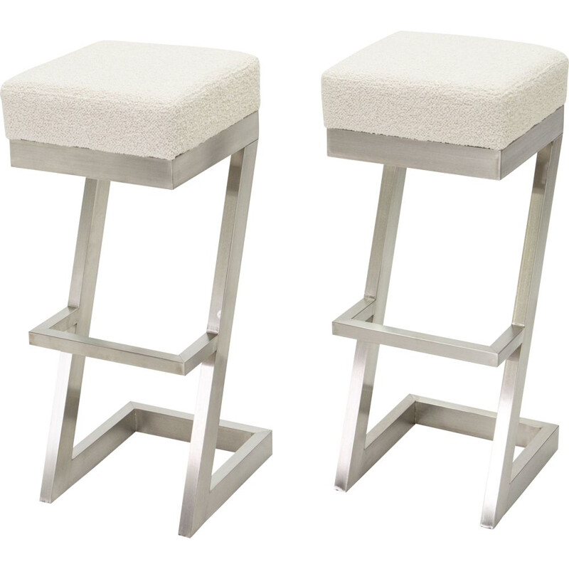 Pair of vintage bar stools in brushed steel wool loop 1970s