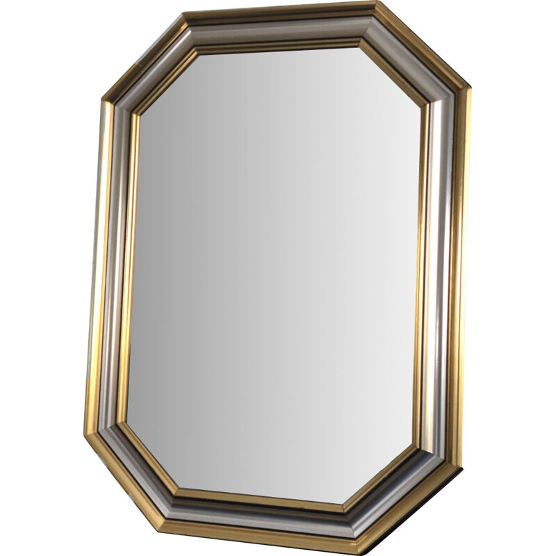 Vintage Facet-Cut Mirror In Gold And Silver 1970s