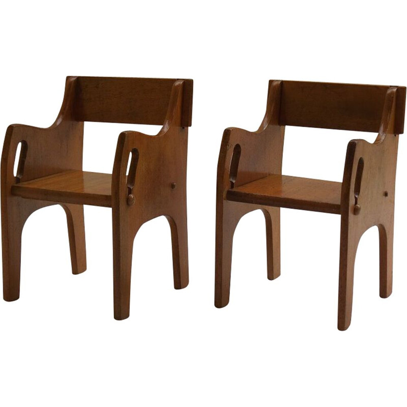 Pair of vintage Wooden Childs Chairs Cc41 1940s