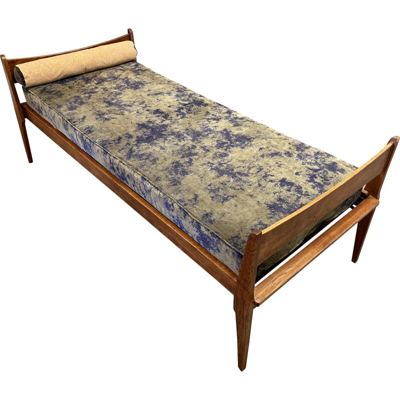 Vintage oak velvet and cork sofa bed 1950s
