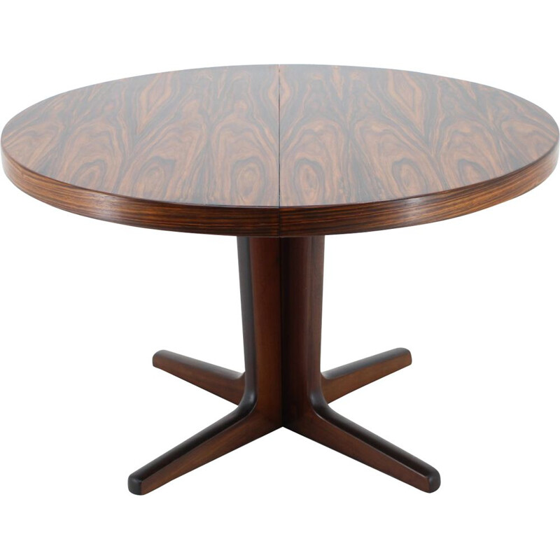 Vintage Round Palisander Extendable Dining Table, Denmark 1960s