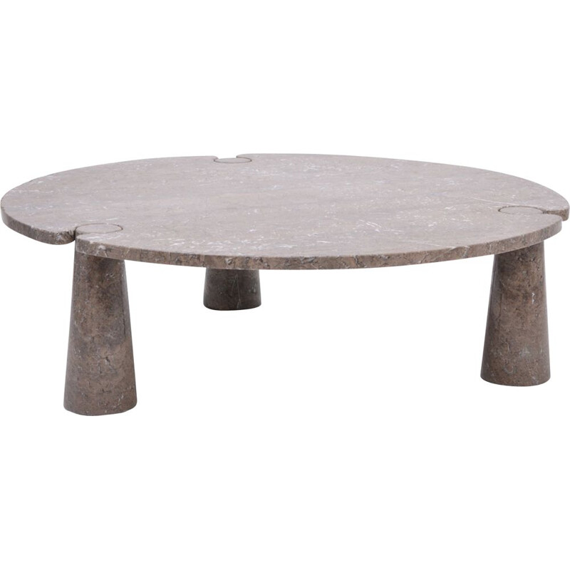 "Large vintage Circular ""Eros"" Marble Coffee Table by Angelo Mangiarotti for Skipper, Italy 1971s"