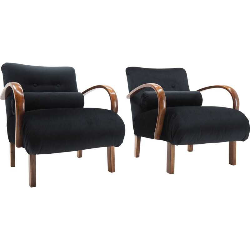 Pair of vintage Armchairs by Jindřich Halabala, Czechoslovakia 1940s