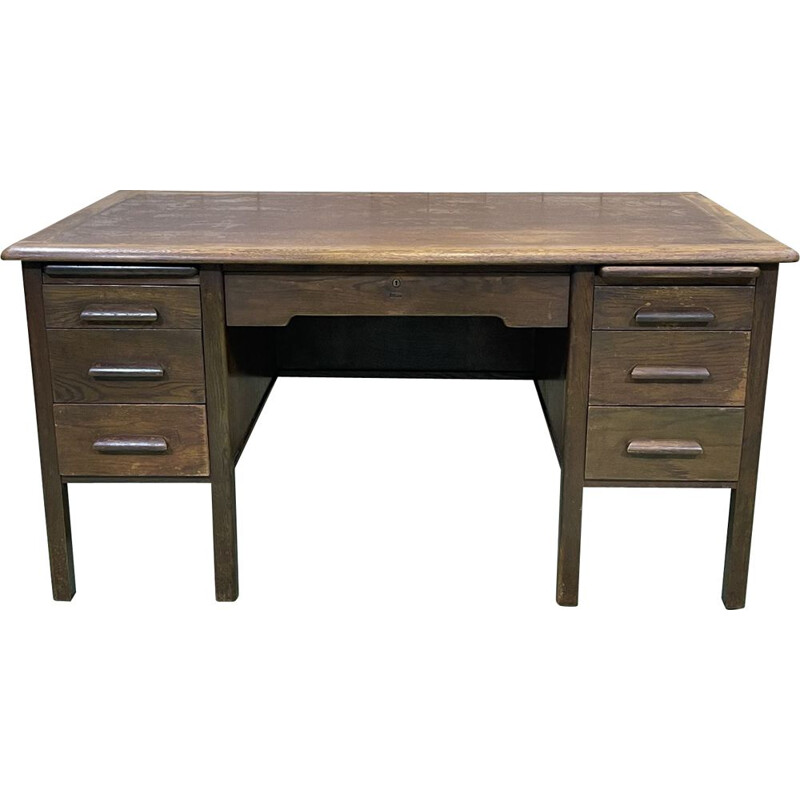 Vintage oak flat desk, English 1960s