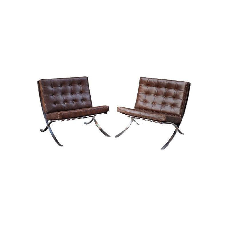 Vintage armchair Barcelona by Mies van der Rohe Knoll 1948s