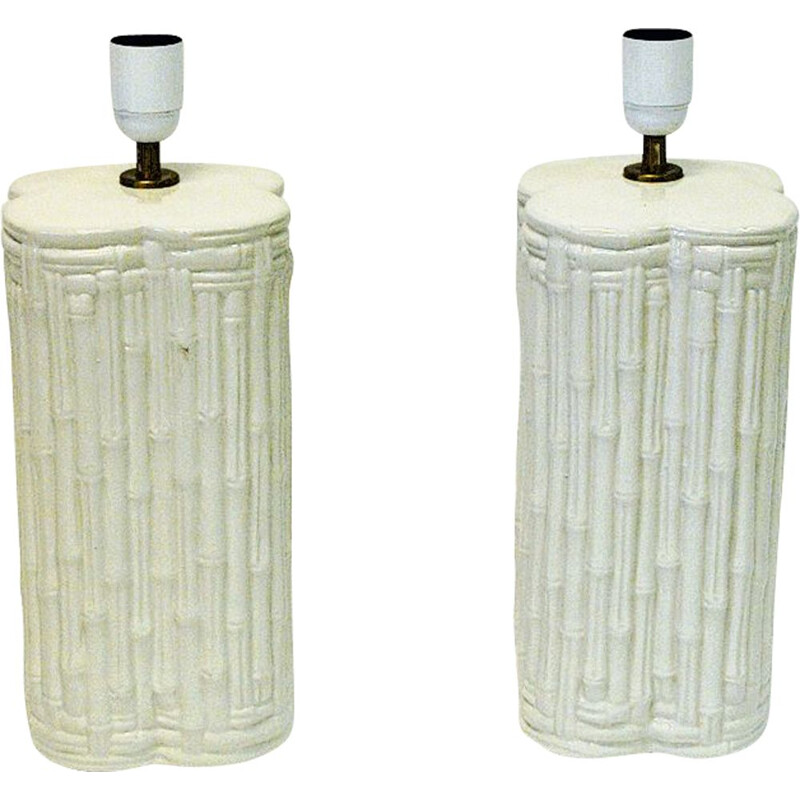 Pair of vintage great beige ceramic tablelamps, Italian 1980s