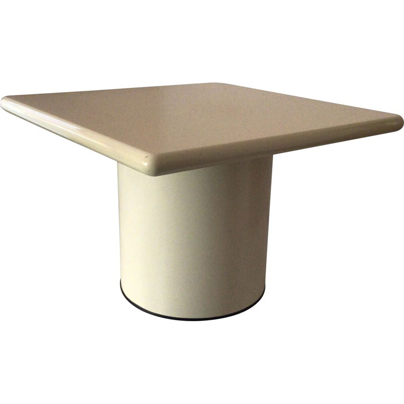 Vintage Square coffee table in metal and wood, Italy 1970s