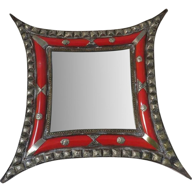 Vintage oriental wall mirror with metal and inlays 1970s
