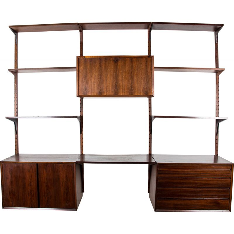Large vintage modular shelf in Rio rosewood by Poul Cadovius, Danish 1960s