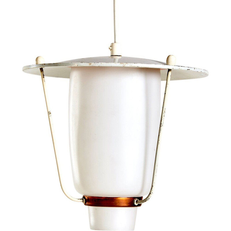 Vintage Copper and Frosted Glass Ceiling Lamp 1970s