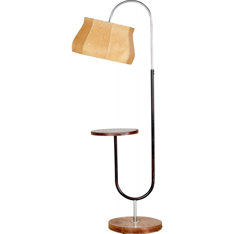 Vintage Art Deco Metal and Wood Floor Lamp by Jindřich Halabala for UP Závody, Czech Republic 1930s