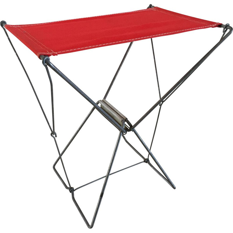 Vintage Nomad folding camping stool, red, France 1950s
