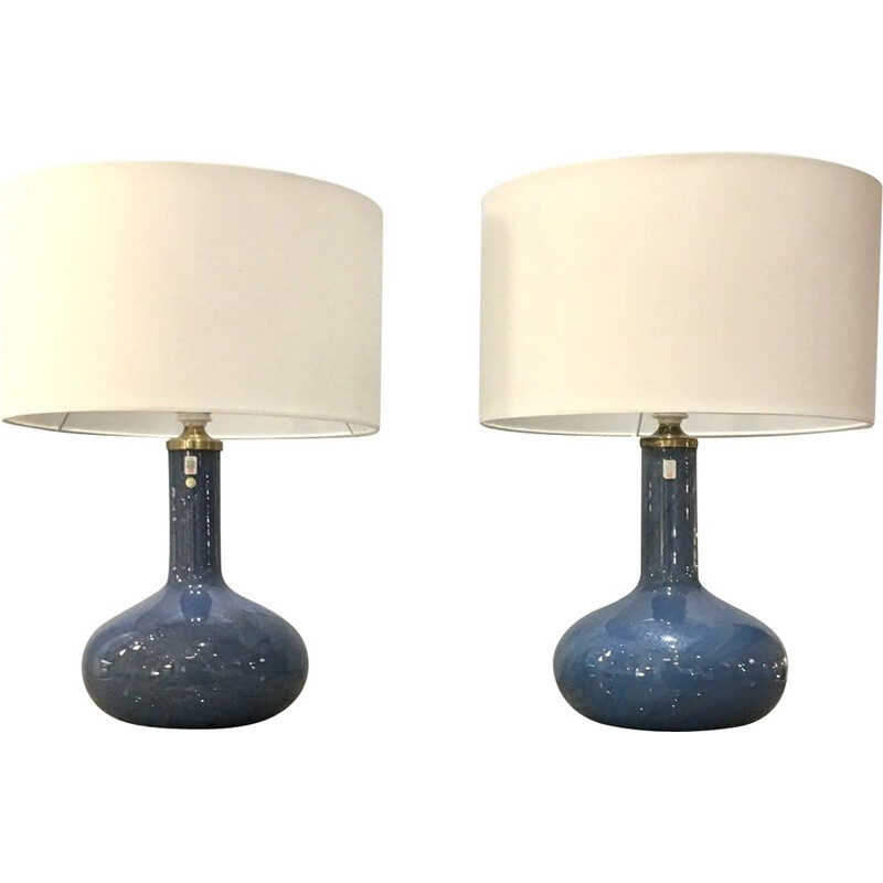 Pair of vintage Holmegaard Troll 2 lamps in iridescent blue glass by Sidse Werner, Denmark 1980s