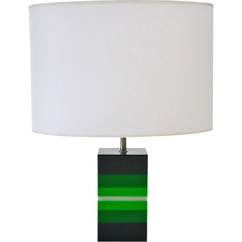 Vintage Table Lamp In Green Plexiglas, Italian 1960s