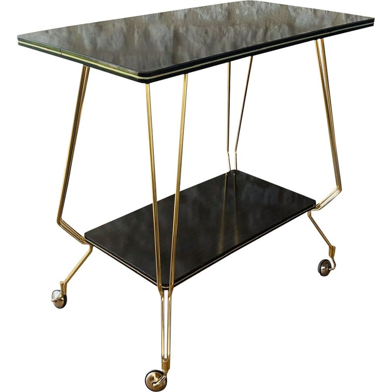 Vintage formica and brass side table with casters 1960s