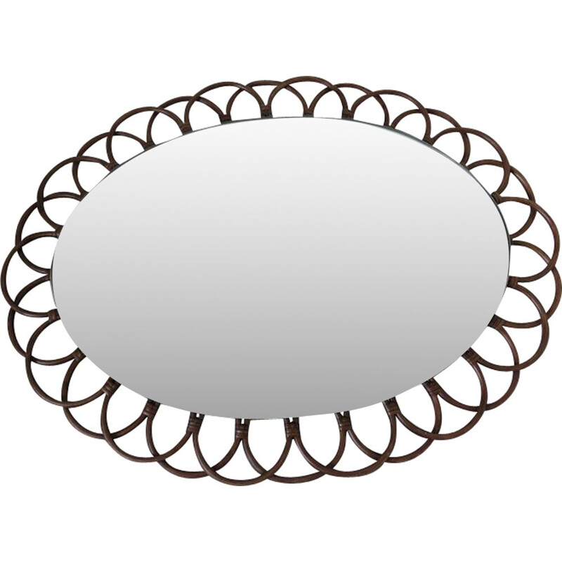 Vintage mirror oval flower in rattan 1960s