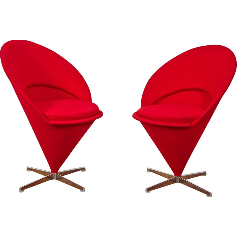 Pair of vintage Verner Panton Cone Chairs, Denmark 1959s