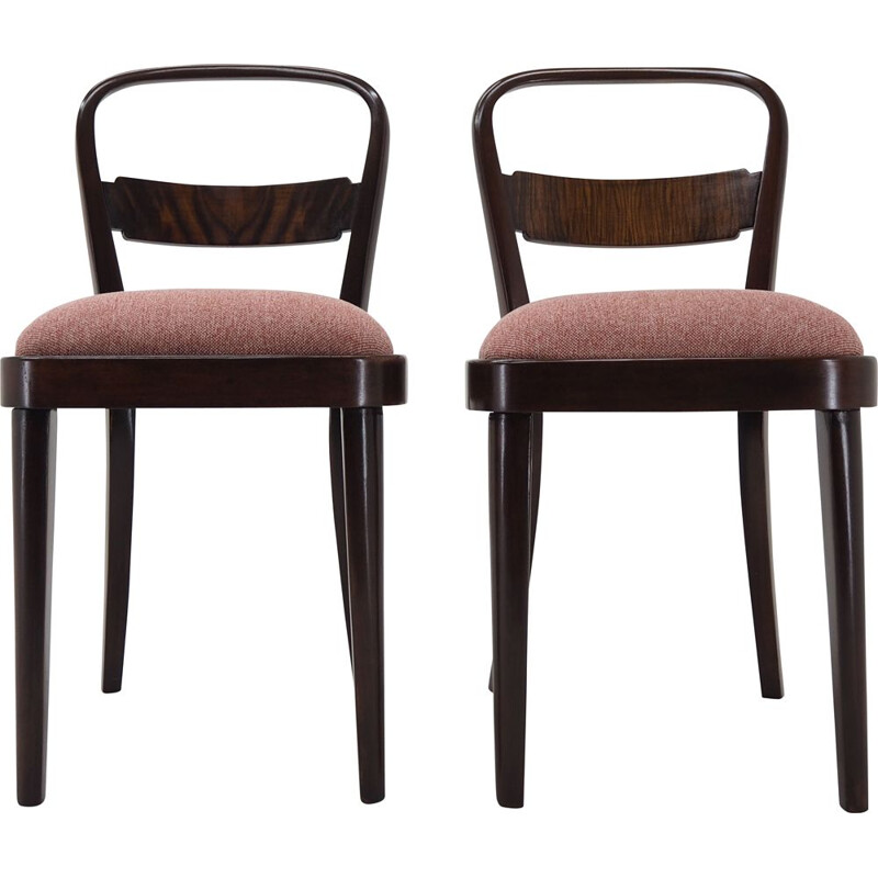 Pair of vintage Art Deco Dining Chairs by Jindrich Halabala, Czechoslovakia 1940s